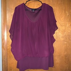 1x Sheer Overlay Blouse